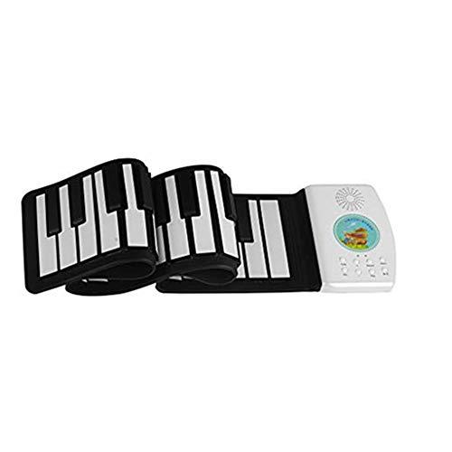 Lukame✯ Teclado de Piano Portátil Enrollable Para Niños Principiantes Con Pedal de Sostenido Blanco Instrumentos Y Accesorios Musicales (49 Llaves)