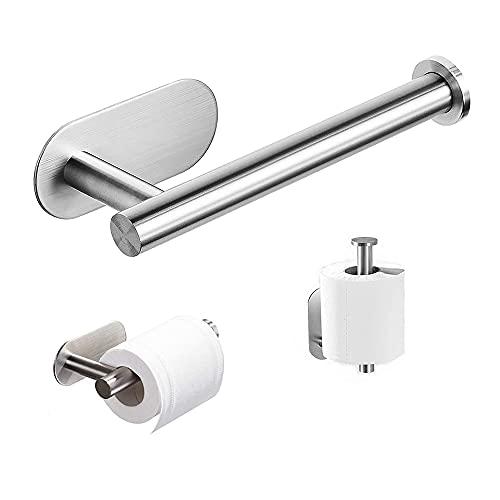Soporte Autoadhesivo para Portarollos Papel Higienico,Porta Rollos de Papel Higienico para Baño o Cocina, Resistente al Agua, no Necesita Pegamento ni Taladro…