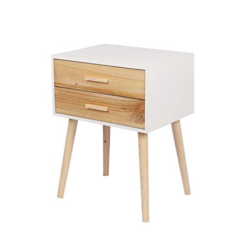 Hironpal Scandi Solid Oak White Bedside Table Cabinet End Side Table,Nightstand Cabinet Nordic Bedside Lamp, Pine Wooden Bedroom Furniture 2 Storage Drawers