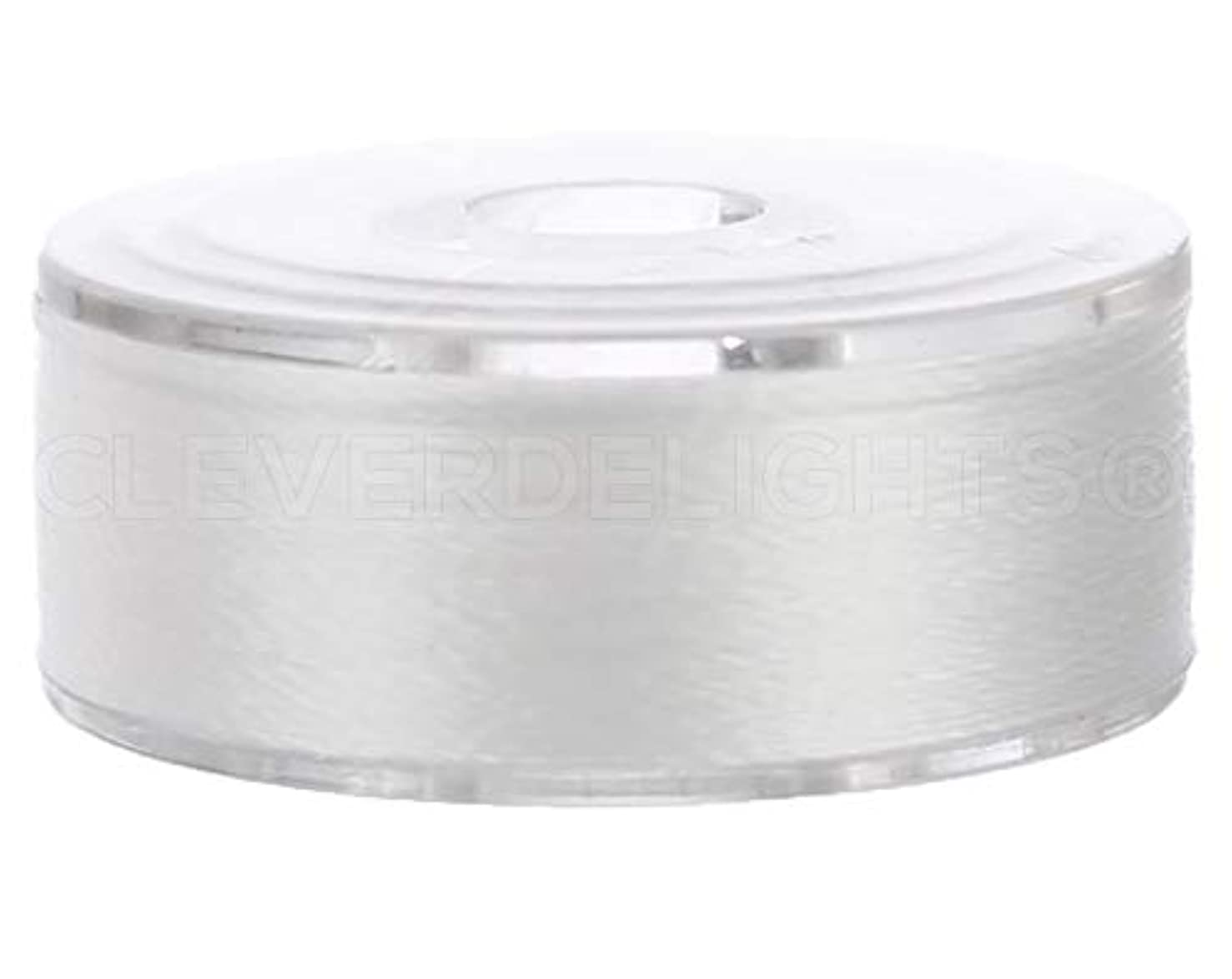 12 Pack - CleverDelights White Prewound Bobbins - Size M Bobbins - Plastic Sided - 1