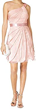 Adrianna Papell One Shoulder Tiered Chiffon Dr Blush