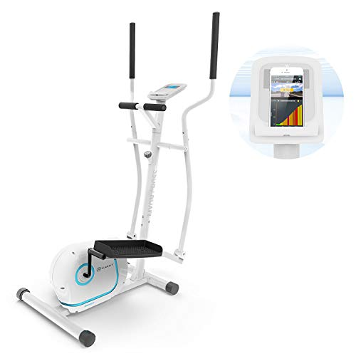 Klarfit Myon Cross Crosstrainer mit 12 kg Schwungmasse, Riemenantrieb mit SilentBelt System, Widerstand in 8 Stufen, Tablet-Halterung, PulseControl, Metallrahmenkonstruktion, antikweiß