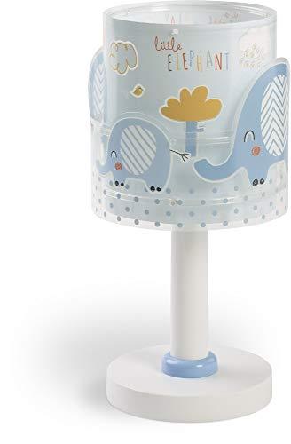 Dalber Little Elephant Lámpara Infantil Mesilla Elefantes, 40 W, Azul