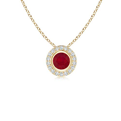 Round Bezel-Set Ruby Pendant with Diamond Halo in 14K Yellow Gold (4mm Ruby)
