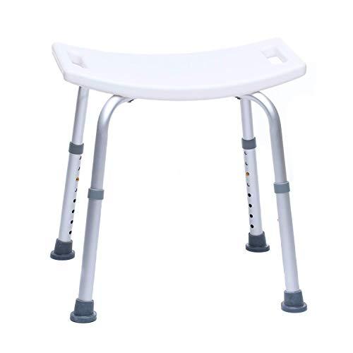 Sgabello da doccia - Sedile da bagno, Regolabile in altezza, Antiscivolo, Stabile, Peso utente Max. 150 Kg