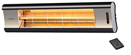 Veito Aero S Elektrische infrarood warmtestraler | carbon (koolstof) | terrasverwarmer | 2500 Watt | elektrisch | met afstandsbediening | IP44 | infraroodverwarming dimbaar | terrasstraler
