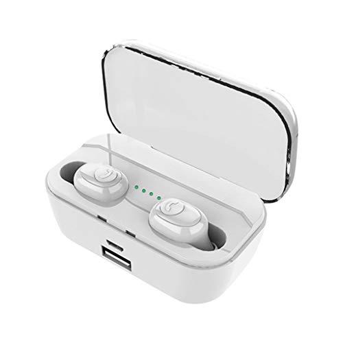 Zolimx Auriculares Bluetooth con Micrófonos, Impermeable Auriculares Inalámbricos Bluetooth 5.0 Mini Estéreo In-Ear Bluetooth con Caja De Carga Portátil