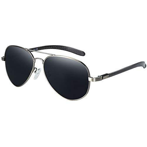 DUCO Polarisierte Sonnenbrille im Pilotenstil mit Carbonfaser-Bügel 3025S (Rotguss)