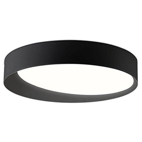 GPZ-iluminación de techo Luz de Techo Circular LED, Luz de Techo de Hierro Negro/Blanco Luz de Techo Led Moderna Sala de estar Brillo Iluminación Interior [Clase energética A ++] (Color : Black)