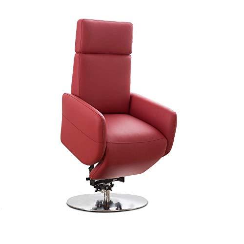 Cavadore TV-Sessel Cobra mit 2 E-Motoren und Aufstehhilfe / Elektrisch verstellbarer Fernsehsessel mit Fernbedienung / Relaxfunktion, Liegefunktion / bis 130 kg / L: 71 x 112 x 82 / Echtleder Rot