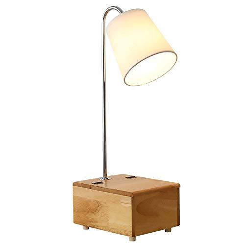 Dormitorios modernos Lámpara de mesa decorativa con lámpara de tela Luz de lectura de cabecera creativa con caja de almacenamiento de madera y espejo Simplicidad Escritorio Iluminación para sala de es