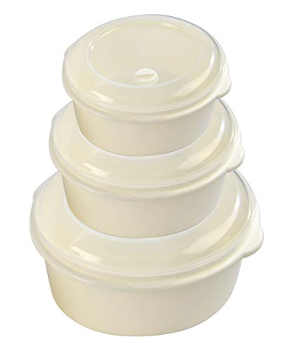 HOME-X Round Food Storage Containers, Microwave Cookware, Easy Storage - Set of 3-21oz / 33 oz / 60 oz Capacity - Cream