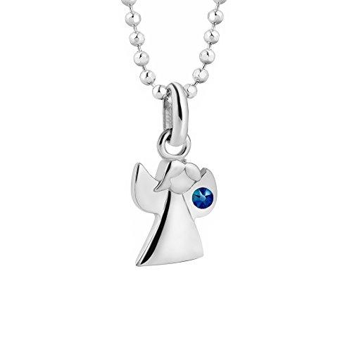 butterfly Cadena para niña plata de ley 925, Elementos de Swarovski, colgante con ángel, azul, 36-40 cm