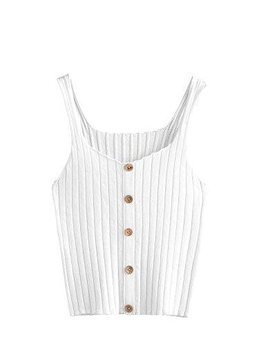 SweatyRocks Women's Sleeveless Vest Button Front Crop Tank Top Ribbed Knit Belly Shirt White One Size