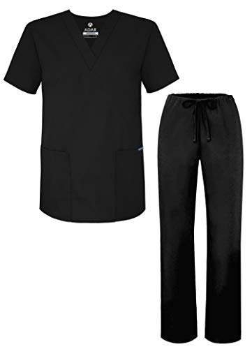 Adar Universal Unisex Pflegebekleidung - Unisex Set mit Kordelzug - 701 - Black - M