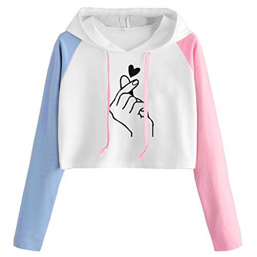 Fosen Sudaderas Kawaii Mujer Tumblr Cortas Adolescentes Chicas - Casual Juveniles Camiseta con Capucha - Deportivo Tops de Estampada Gesto Que corazón