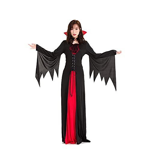 LGQ Disfraz de Bruja para Adultos de Halloween Disfraz de Mago Vampiro Vestido de Corte Retro Europeo para el día de los Muertos, Fiestas temáticas, Halloween,L