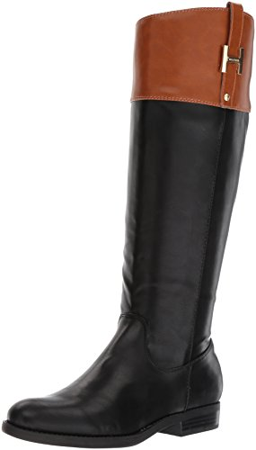 Tommy Hilfiger Women's SHYENNE Equestrian Boot, Black/Cognac, 10 Medium US
