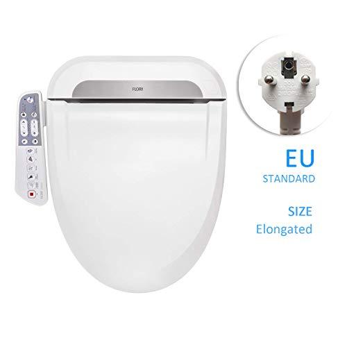 FLORYEU Bidet Elektrischer digitaler intelligenter Toilettensitz FDB600, energiesparende Technologie, umweltfreundlich, Sitzheizung, warmer Wind und Luft trocknen (längliche EU)