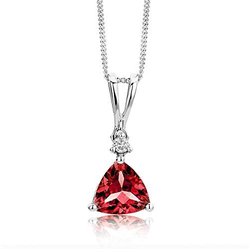 Miore Schmuck Damen 0.02 Ct Diamant Halskette mit Anhänger Edelstein Granat und Solitär Brillant elegante Kette aus Weißgold 9 Karat / 375 Gold
