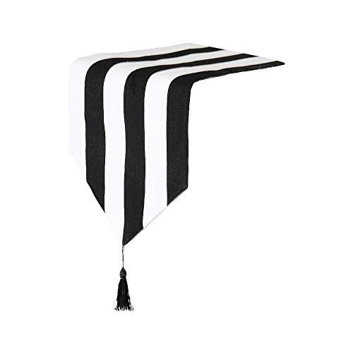 Tischläufer, klassisch, gestreift, 30,5 x 160 cm, Schwarz / Weiß, Textil, 30x160cm