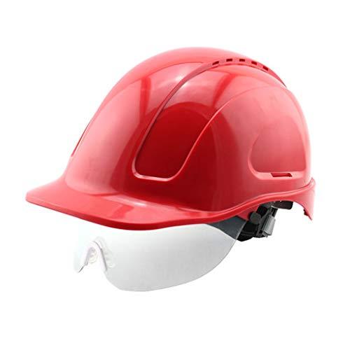 Casque Ceinture de sécurité pour la Construction - ABS - Ceinture d'isolation Haute Tension - Lunettes de Protection/Chantier (Couleur : Red)