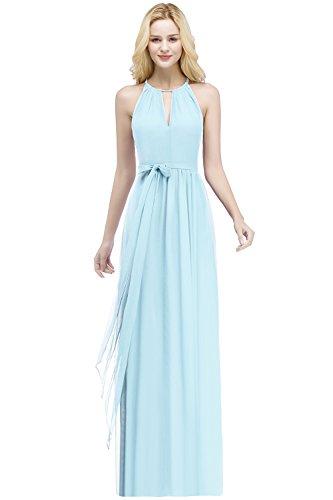 Babyonlinedress® Damen Abendkleider Lang Chiffon Brautjungfernkleid Hochzeitskleider Größe Größen, Himmelblau, 46