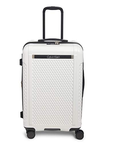 Calvin Klein Driver Hardside Spinner Luggage, White, 25 Inch