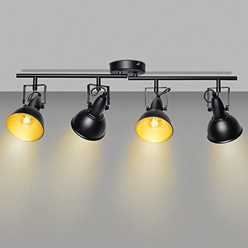 Unikcst 4 Flammig Deckenstrahler Retro Vintage Schwenkbar LED Deckenspots Schwarz E14 Deckenleuchte für Wohnzimmer Küche Schlafzimmer Ohne Leuchtmittel