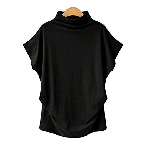 2020 transfronteriza Europa y América del gran tamaño de las mujeres de cuello alto de la manga blusa de Amazon modelos de explosión de murciélago de manga corta camiseta de una generación de grasa .