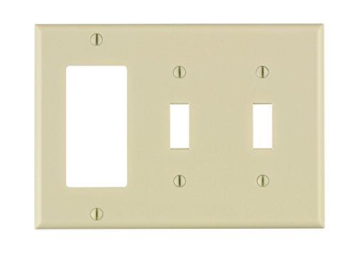 Leviton 80421-T 3-Gang 2-Toggle 1-Decora/GFCI Device Combination Wallplate, Standard Size, Thermoset, Device Mount, Light Almond