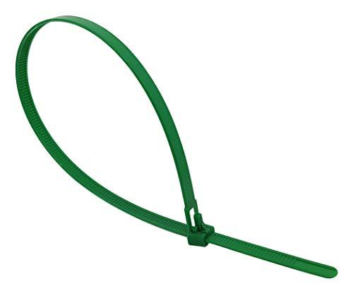 intervisio Bridas de Plastico para Cables Reutilizables / 200mm x 7,6mm / Verde / 100 Piezas