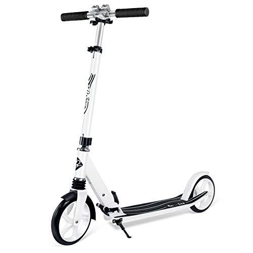 BELEEV Roller für Erwachsene, Tretroller Kick Scooter mit 2 Rädern, Schnellverschluss Klappbar System, 4 Höhenverstellbare, Große 200mm Räder Roller Jugendliche (Weiß)