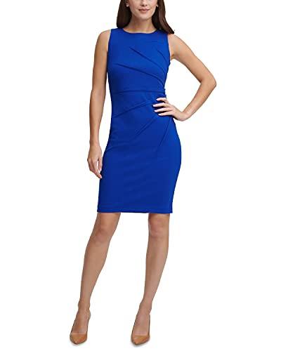 Calvin Klein Women's Sunburst Sheath Dress Regatta Blue Petites 0P