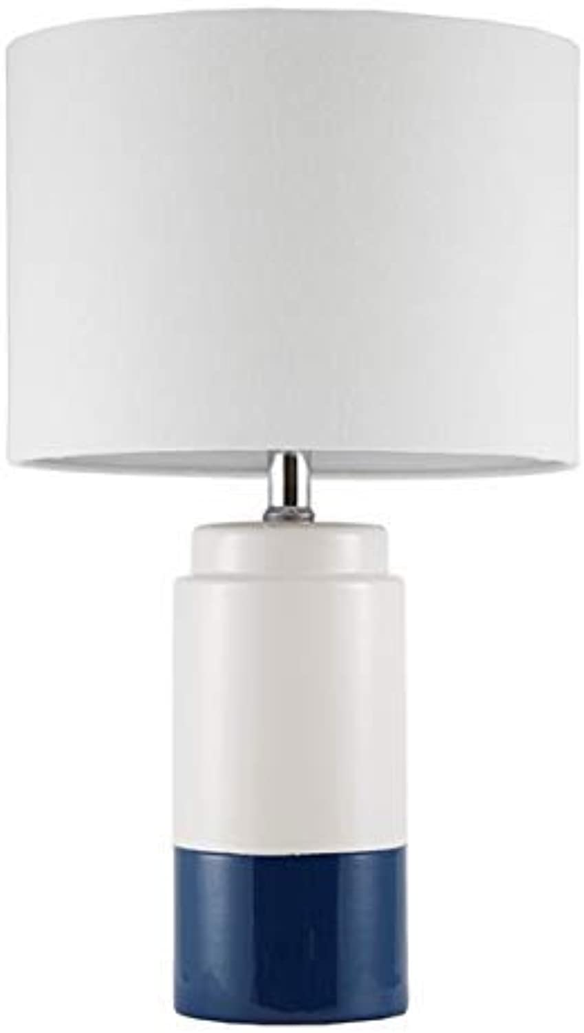 Bailey Navy White Table Lamp , Transitional Metal Ceramic Table Lamps for Bedrooms , 11 L X 11 W X 18.75 H , Navy