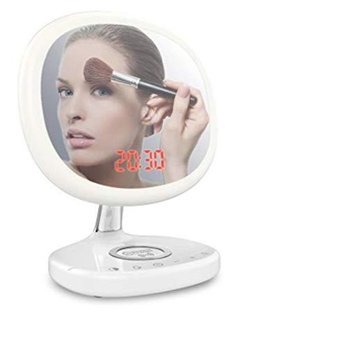 Pn&cc Espejo de Maquillaje LED, 21 LED lámpara de botón inductiva Pantalla táctil inductiva con función de Carga inalámbrica de Alarma de Reloj Despertador