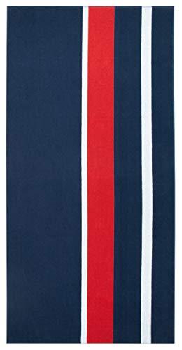 ZOLLNER Toalla de Playa Grande, 100x200 cm, algodón, azúl Marino, Rojo y Blanco