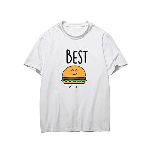 Best Friends French Fries and Burger Shirts Unisex Casual T Shirt Cute Cartoon Design Tops Tee Gr. XS, White-06.