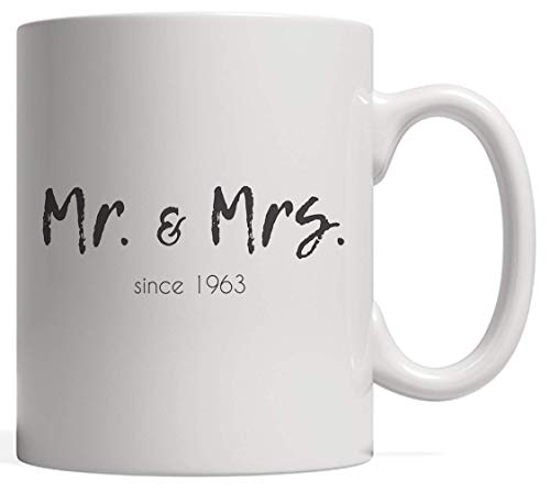 N\A El Sr. y la Sra. Desde 1963 Taza de Matrimonio Taza de la Novedad Lindo y Divertido 55.o Regalo de cumpleaños de la Boda para una Pareja Casada Feliz El Sr. y la Sra. Celebrando 55 años