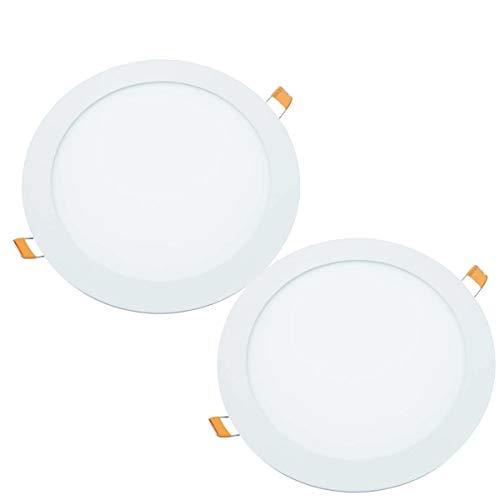 JANDEI - 2x Downlight LED 18W Redondo Plano De Empotrar, Aluminio Aro Blanco Mate, Luz Blanca Fría 6000K, Para Hueco De 200-205mm Blanco, Medida 220mm