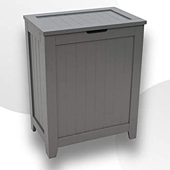 Wooden Hamper For Laundry with Lid Contemporary Storage Bin Basket Dark Cabinet Organizer for Bathroom Guest Room Bedroom with Modern Design and Durable Wood Construction  Gray
