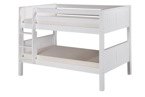 Camaflexi Panel Style Solid Wood Low Bunk Bed, Twin-Over-Twin, Side Attached Ladder, Cappuccino
