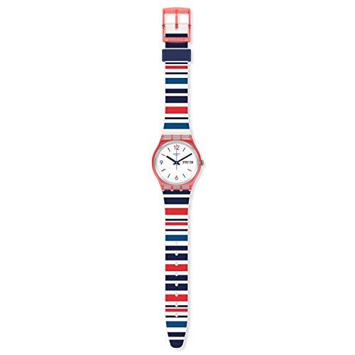 Swatch Reloj unisex con esfera blanca de cuarzo