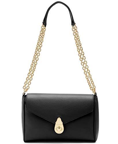 Calvin Klein Soft Lock Umhängetasche aus Lammleder, umwandelbar, Schwarz/Gold