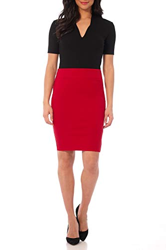 Rekucci Women's Ease into Comfort Fit Perfect Midi Pencil Skirt (X-Large,Red)