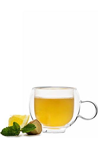 YEM 6 x 250ml doppelwandige Thermo-Gläser mit Henkel, für Kaffee, Latte Macchiato, Tee-Glas Set, Doppelwandgläser, Lana