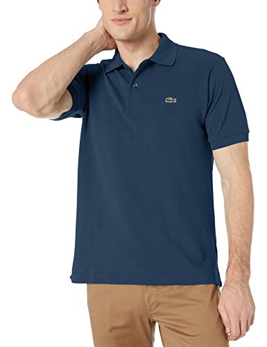 Lacoste Mens Short Sleeve L.12.12 Pique Polo Shirt Polo Shirt, Navy Blue, M