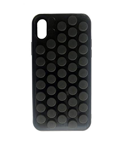 iPhone Xs case HHYCT Funny Popping Decompression Bubble Wrap Back Soft Silicone Case Cover for iPhone X 5.8 Inch (Black)