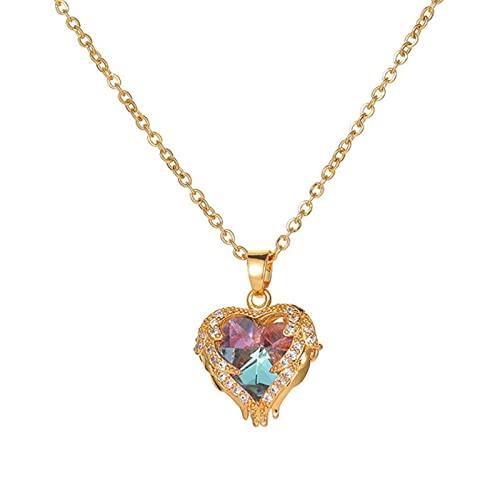 QIN Collar con Colgante de circonita de Color, Cadena de Acero Inoxidable para Mujeres, niñas, corazón, pez, encantos de Cobre, Gargantilla, joyería, Regalos