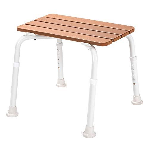 イーサプライ シャワーチェア バスチェア お風呂 椅子 木目調 高さ調節 5段階 40-50cm 耐荷重120kg ゴム足付き 介護用品 おしゃれ EEX-SUPA13